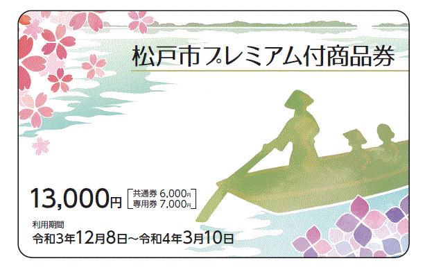 カード型の松戸市プレミアム付き商品券